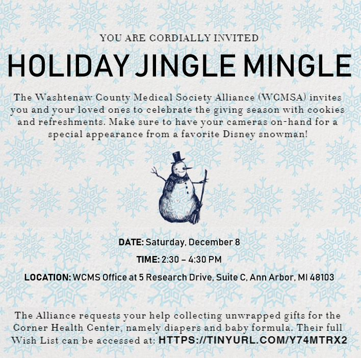 Holiday Jingle Mingle with WCMS Alliance @ Washtenaw County Medical Society | Ann Arbor | Michigan | United States