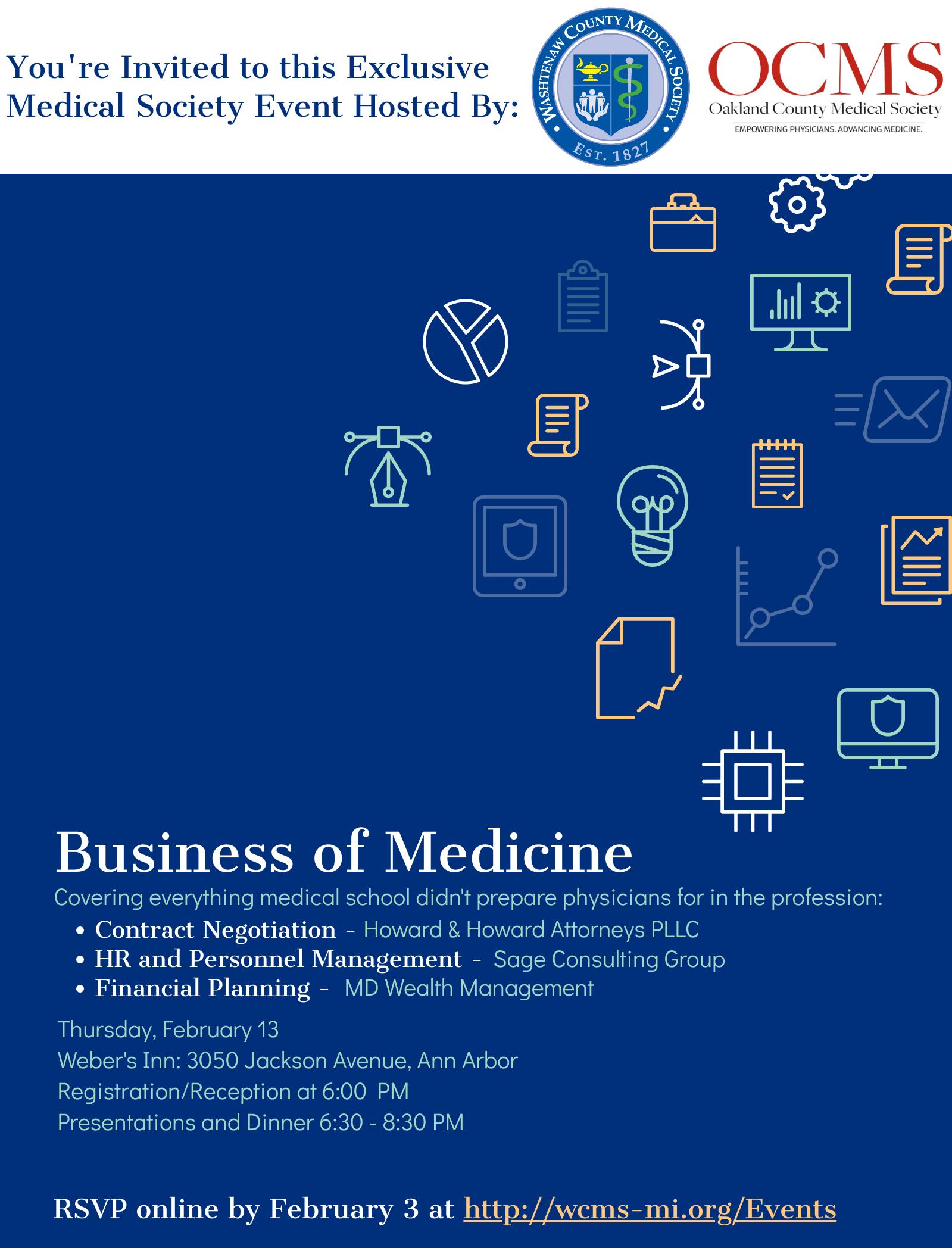 Business of Medicine: 2020 General Membership MedConnect @ Weber's Inn