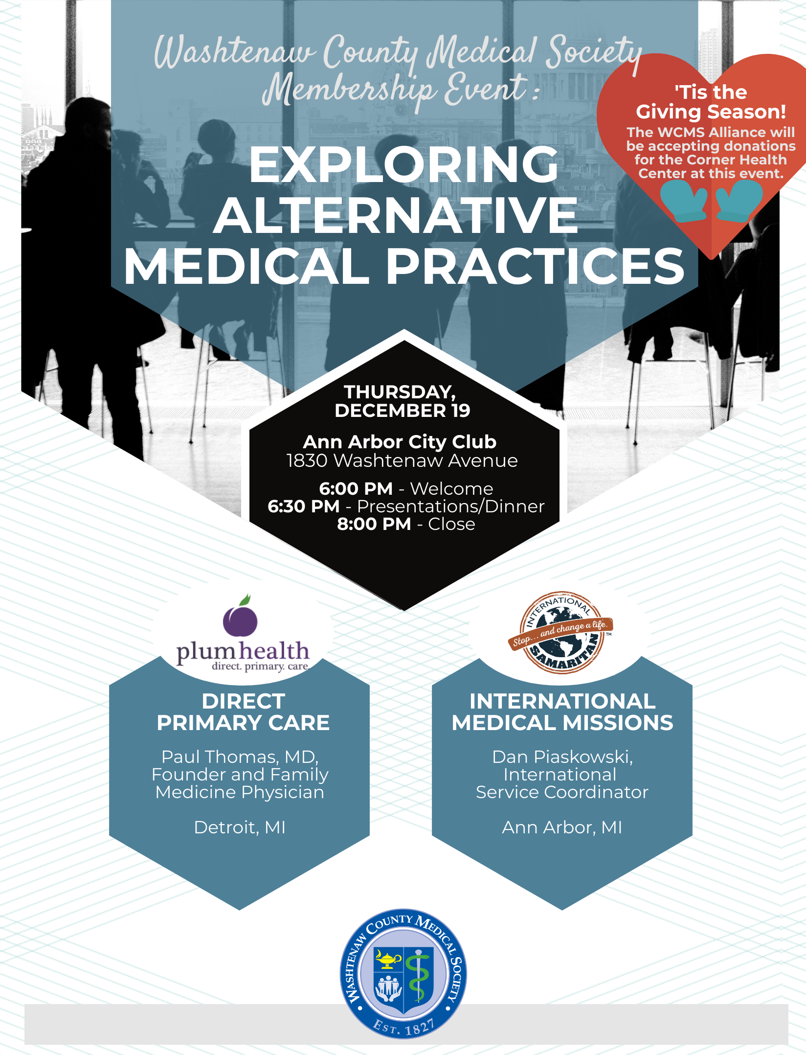 Membership Dinner: Exploring Alternative Medical Practices @ Ann Arbor City Club